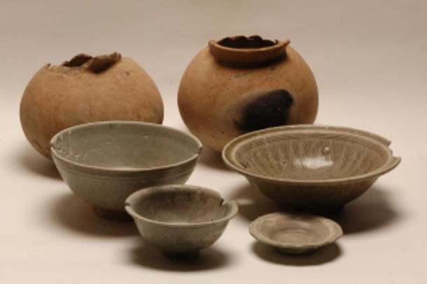 Some pottery found at the Krang Kor site in Cambodia.