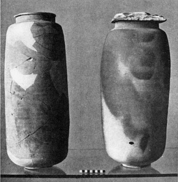 Two examples of the pottery that held some of the Dead Sea Scrolls documents found at Qumran.