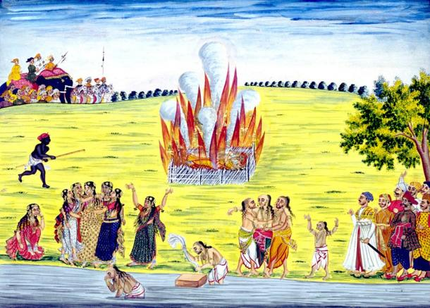 Painting depicting the practice of sati (suttee) or widow-burning. It was applied to the Hindu widow who followed her husband onto the funeral pyre. The practice was officially outlawed in the 1800's.