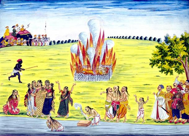 A painting from c. 1800 depicting the practice of sati (suttee) or widow-burning.