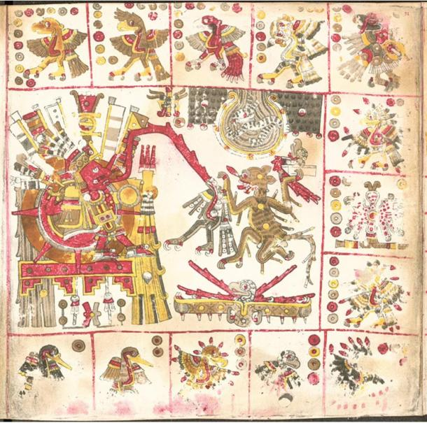 A page from the pre-Spanish Codex Borgia, depicting the Sun god