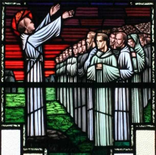 St Fíonnán preaching to his pupils, depicted on a stain glass window in the Church of St. Finian at Clonard. (Andreas F. Borchert / CC BY-SA 3.0 DE)