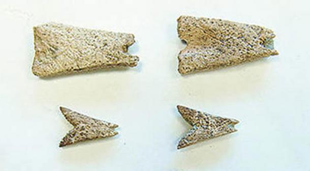Detail, prehistoric bone pendants found at the Mead archaeological site in Alaska may be the first examples of artwork in northern North America.