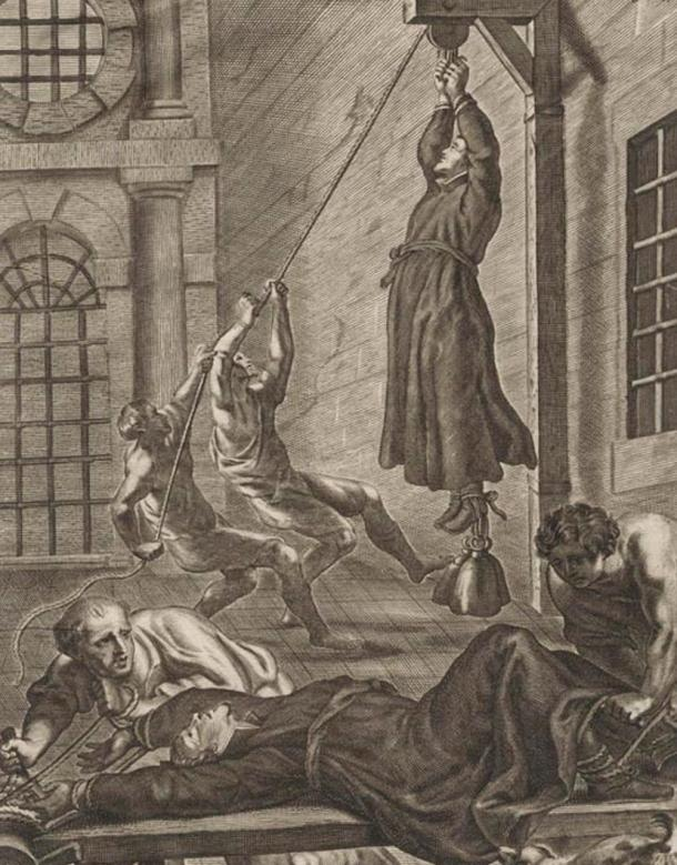 The consequences if a priest were captured. Engraving by Gaspar Bouttats