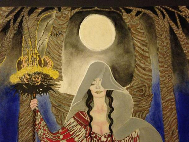 Artistic representation of a priestess.