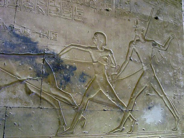 A relief depicting prince Amenherkhepshef (left) and Ramesses II (right) from the Temple of Abydos.
