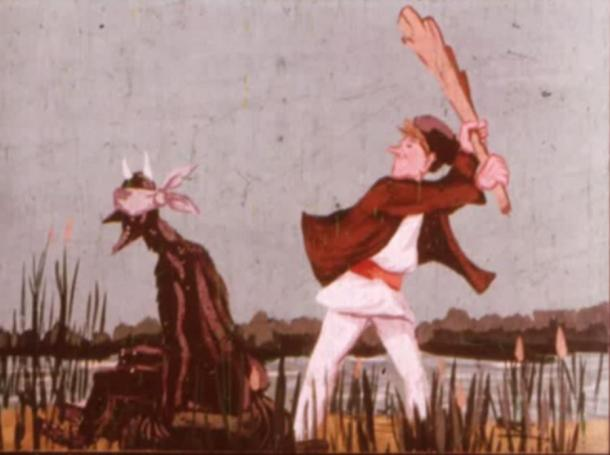 As a protection method, he had to tie the devil's eyes and ears for his own good. Then, Danila went behind the devil and smacked him hard with a large oak bat he found on the ground.