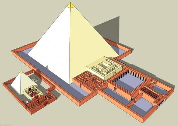 El complejo de la pirámide de Khentkaus II (más pequeño) y su esposo Neferirkara de Abusir, Egipto.