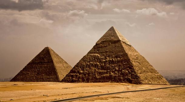 Majestic pyramids reach to great heights in Egypt.