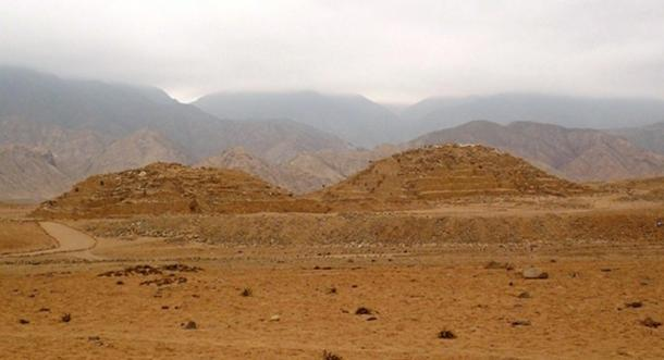 Two pyramids in Caral, Peru.