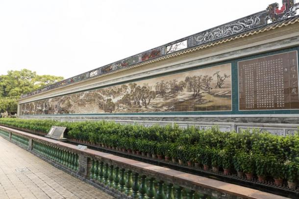 A reproduction of the famous Qingding landscape displayed in Bao Mo Garden in Guangzhou City, China