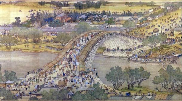 The famous bridge scene from 'Along the River During the Qingming Festival'