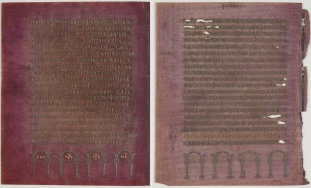The quality of the Codex Argenteus manuscript is clearly evident. The purple parchment is covered in silver and gold ink. (Magnus Hjalmarsson - Uppsala University Library / Public Domain)