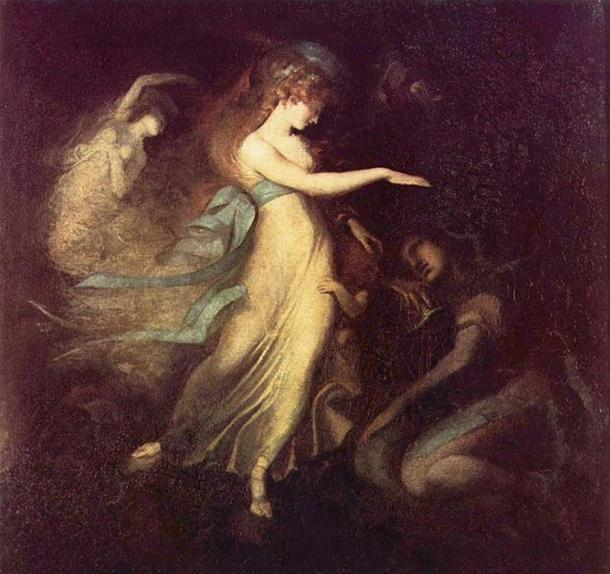 Prince Arthur and the Fairy Queen. (c. 1788) By Henry Fuseli.
