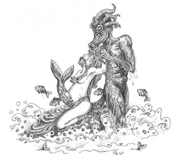 A quinotaur sea monster possessing the king Clodio's wife, who became pregnant with the future king Merovech. Created by Andrea Farronato