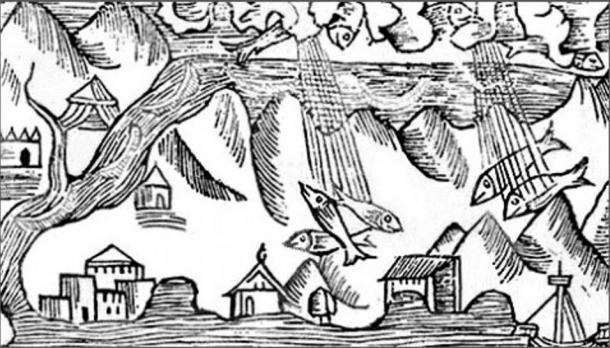 1555 engraving of raining fish.