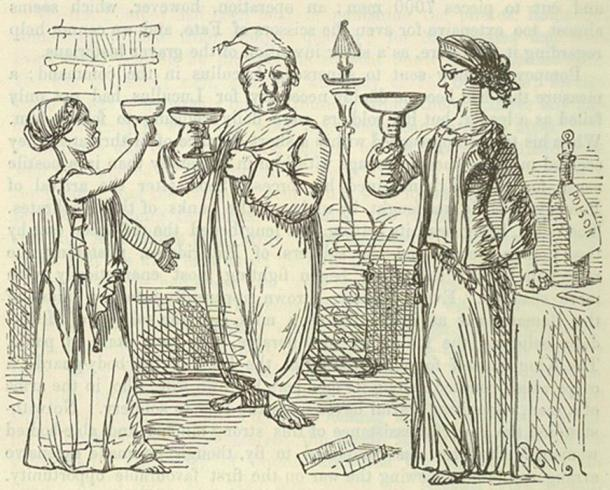 """""""Mithridates, his rash act."""" Image by John Leech, from: The Comic History of Rome by Gilbert Abbott A Beckett."""