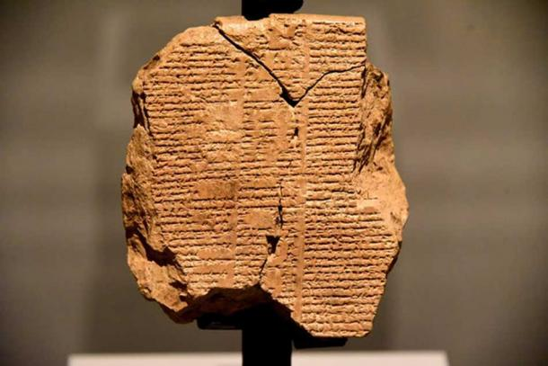 A recently discovered clay tablet telling part of the Epic of Gilgamesh in cuneiform.
