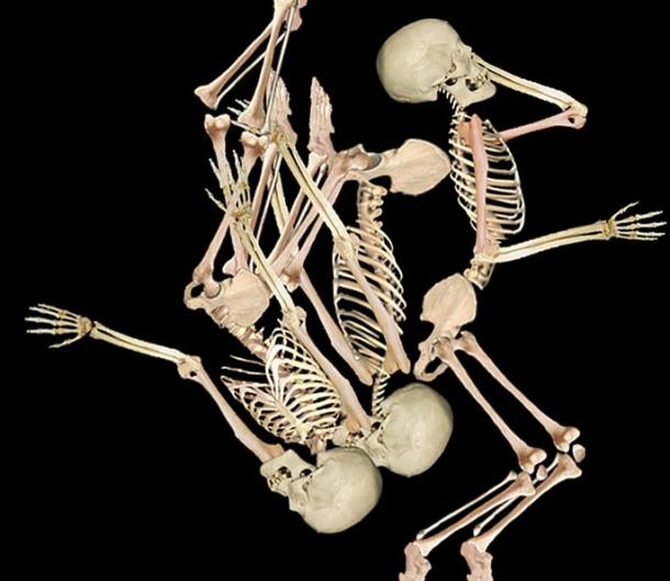 Researchers reconstructed the position of the three men found in a grave in 1964.