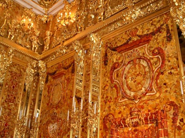 A reconstructed segment of the Amber Room