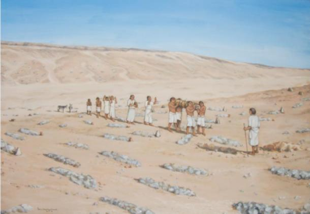 A reconstruction of a burial at the southern Amarna cemetery (Reconstruction by Fran Weatherhead via Antiquity Publications Ltd)