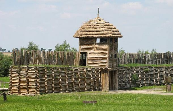 Reconstructed fortification of a type described by archaeologists examining the buried site in Bieździadka, Poland