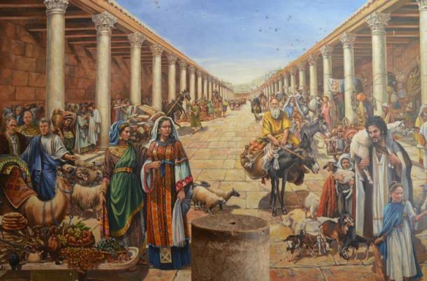 Artist's reconstruction of life in a Roman cardo of Jerusalem during the Aelia Capitolina period.