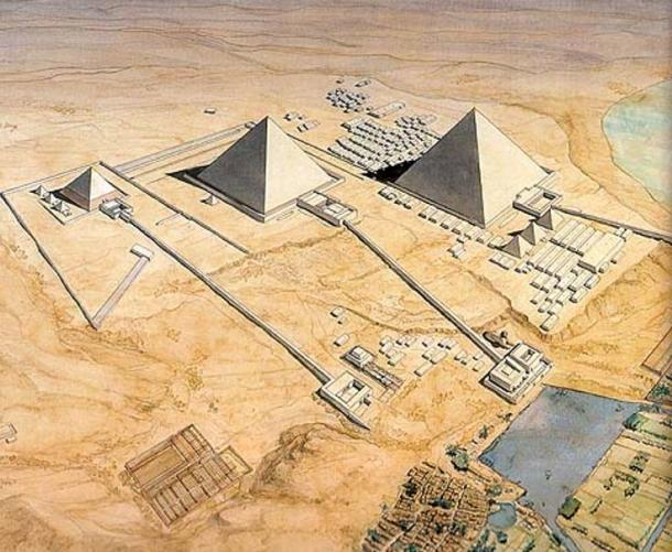 Artist's reconstruction of the pyramids of Giza, showing the long causeways attached to each complex