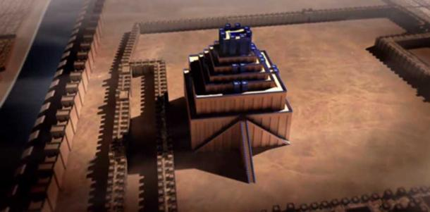 A reconstruction of the tower of Babel from a Smithsonian video screenshot