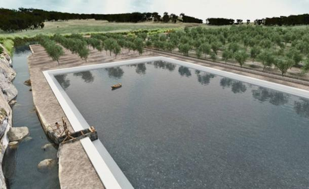 Reconstruction showing what the water basin would have looked like