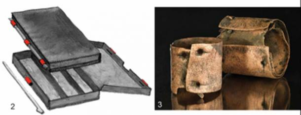 Left: The reconstruction of a wooden box including bronze fittings (marked in red). Right: Cylinders with nails. Credit: Antiquity Publications Ltd. / Uhlig et al., (2019), drawings 1–2; after Roscio et al. 2011; 3: photo by V. Minkus.