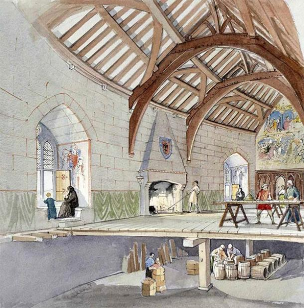 A reconstruction of the hall in the 14th century, showing the storage beneath and the timber roof. (Illustration by Terry Ball / Historic England)