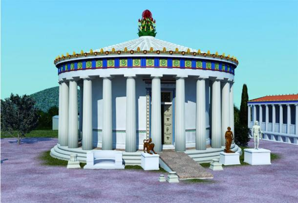Reconstruction of the 4th century BC tholos at the Sanctuary of Asklepios at Epidauros. (Image: © 2019 J. Goodinson, scientific advisor, J Svolos. Antiquity Publishers Ltd)