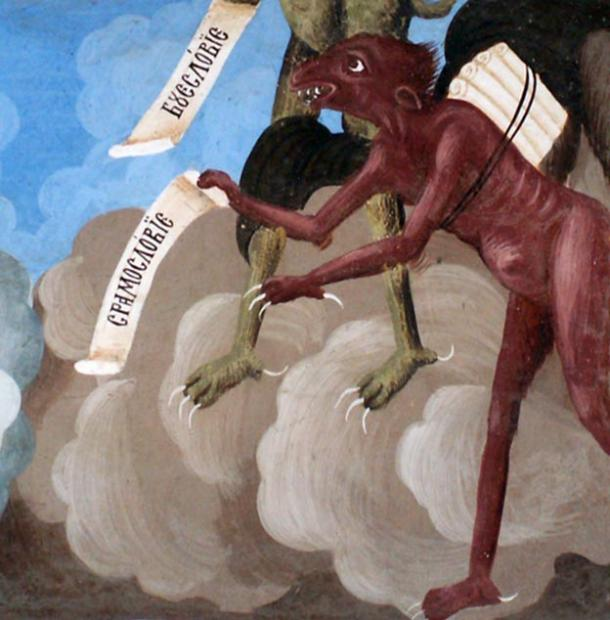 Depiction of a red demon, like the one in the Romanian tale. Fresco detail from the Rila Monastery.