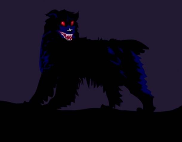 A red-eyed black dog.