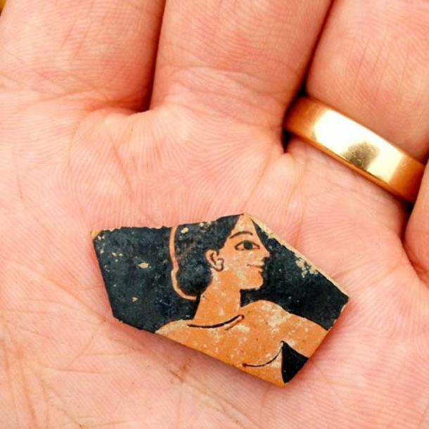 Fragment of red-figure pottery discovered at the site. It is from the late 6th century BC and probably by Attic painter Paseas.