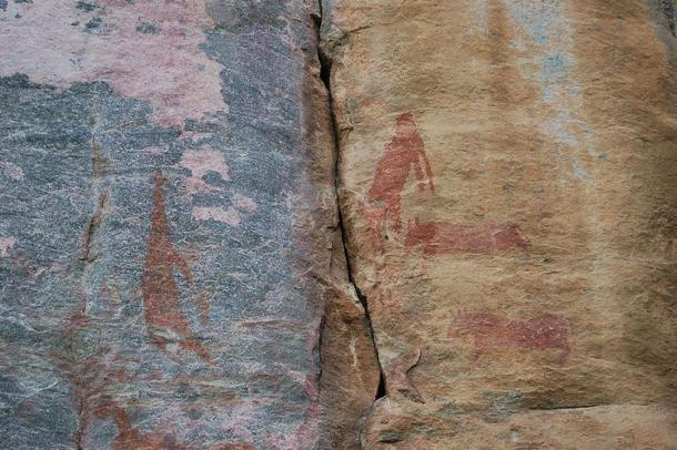 Faded red paintings at Tsodilo.