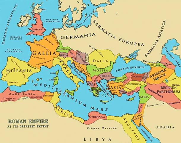 A referenced map of the Roman Empire at its greatest extent.