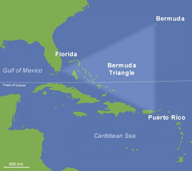 One version showing the region of the Bermuda Triangle.