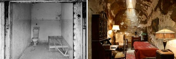 Left: A regular cell at Eastern State Penitentiary. Right: Al Capone's cell.