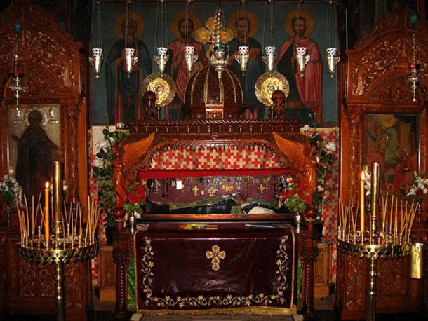 The relics of St. Sabbas in the Catholicon (main church) of Mar Saba monastery, West Bank.