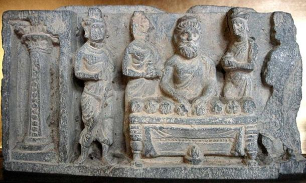 The sharing of the relics of the (Buddha). Greco-Buddhist art of Gandhara, 2nd 3rd century AD.