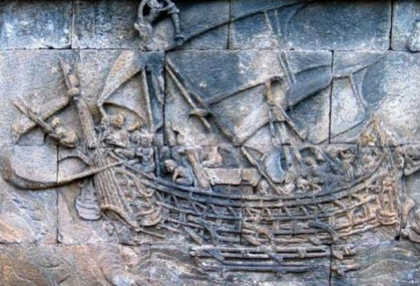 Indians traveled to the Far East through the land or sea routes for trade. Relief panel of a ship at Borobudur, 8th-9th century