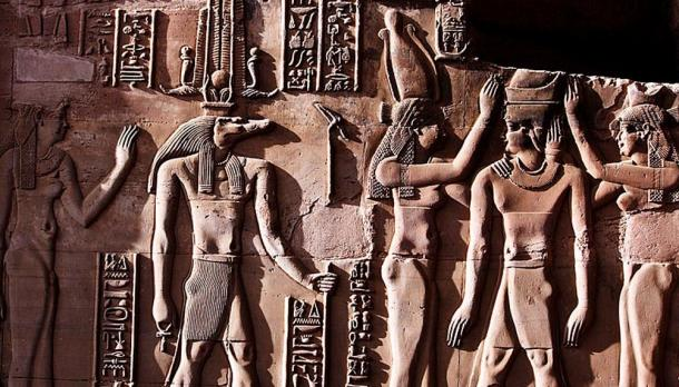 This relief from the Temple of Kom Ombo shows Sobek with typical attributes of kingship