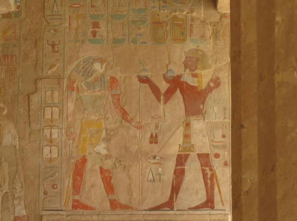 A partially surviving relief in the mortuary temple of Hatshepsut.
