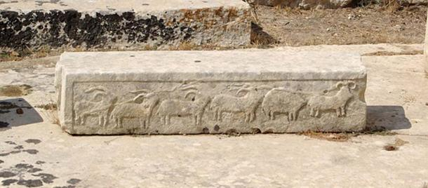 A relief showing goats and rams at the Tarxien Temples megalith complex.