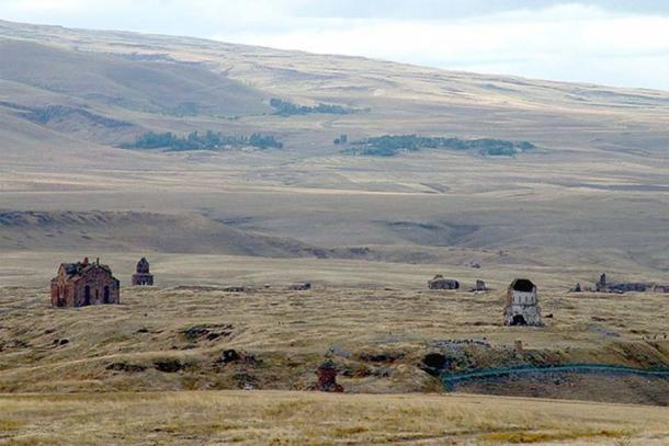 The religious landscape of the medieval Armenian city of Ani, now in Turkey, as viewed from Armenia.
