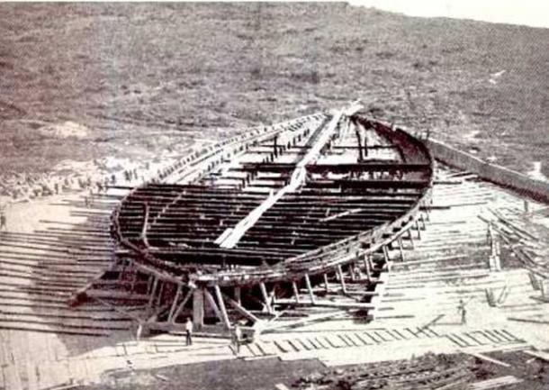 A remaining hull from massive vessel which served as an elaborate floating palace to the emperor