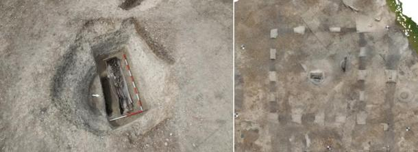 The remains of a Roman burial were found in a square enclosure. The skeleton was located in a coffin lined with lead and what was once a wooden outer layer