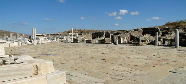 The remains of an Agora (marketplace) in Delos, Greece